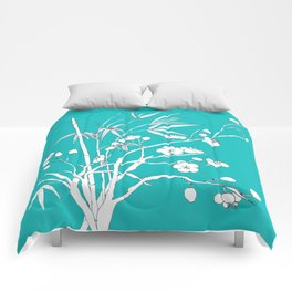 bamboo and plum flower white on blue Comforters