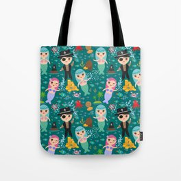 Mermaid with pirate, dark blue sea background Tote Bag