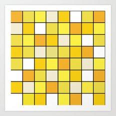 Square Yellow Jellyfish Art Print