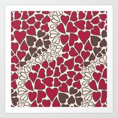 HEARTS  ~  CRIMSON, CLEAR, BROWN Art Print