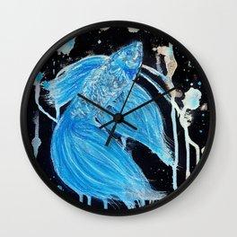Blue Splatter Drip Betta Wall Clock