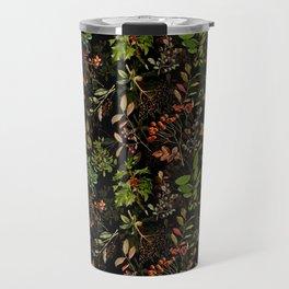 Vintage & Shabby Chic - vintage botanical wildflowers and berries on black Travel Mug