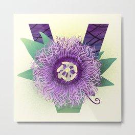 Vine-leaf Passion Flower Metal Print