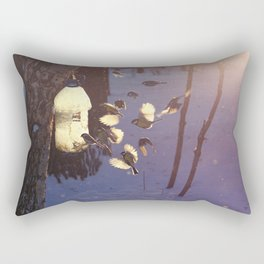 titmouse flew to the feeder in winter Rectangular Pillow