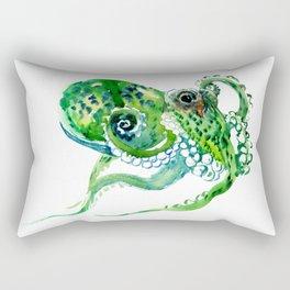 Beach art, green Octopus, sea world, aquatic nautical octopus art Rectangular Pillow