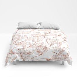 Elegant modern rose gold white trendy floral Comforters