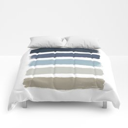 Blue & Taupe Stripes Comforters