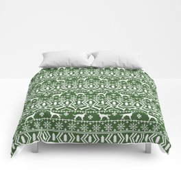 Irish Setter fair isle christmas green and white holiday sweater gifts dog breed Comforters