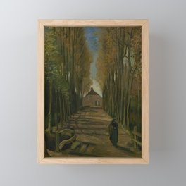 Avenue of Poplars in Autumn Framed Mini Art Print