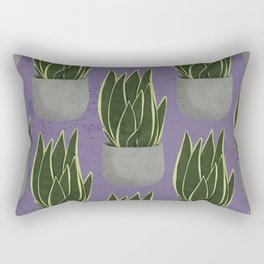 Potted Snake Plant with Purple Background Rectangular Pillow