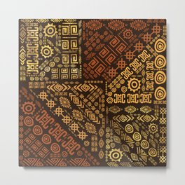 Ethnic African Pattern- browns and golds #10 Metal Print
