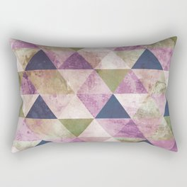 Blue, Green & Purple Triangle Geometric Design Rectangular Pillow