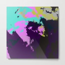 Abstract Colorful Retro Tie-Dye Art Pattern - Ishino Metal Print