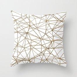 Geometric triangles glitter pattern. Modern stylish texture. Gold trendy glitter print background Throw Pillow