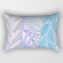 Modern Jungle Plants - Blue, Purple Rectangular Pillow