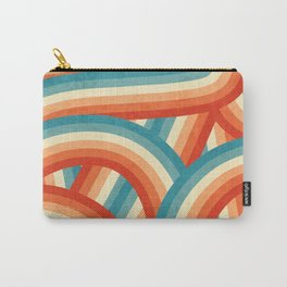 Red, Orange, Blue and Cream 70's Style Rainbow Stripes Carry-All Pouch