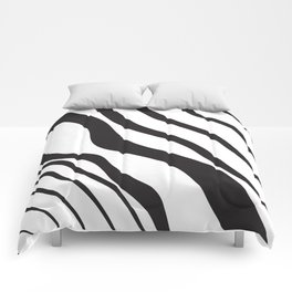 Abstract Graphic Vector Black Waves Comforters