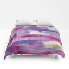 Dramatic sunset: minimal, acrylic abstract painting in purple, magenta and violet / Variation Three Comforters