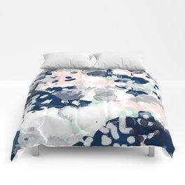 Melia - abstract minimal painting acrylic watercolor nursery mint navy pink Comforters