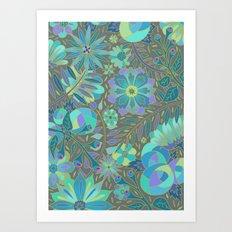 Muted Blue Flowers Art Print