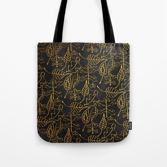 AUTUMN 1 - gold leaves on chalkboard backround Tote Bag