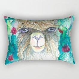 Llama in cacti Rectangular Pillow