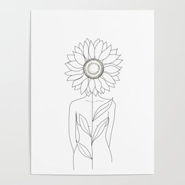 Minimalistic Line Art of Woman with Sunflower Poster