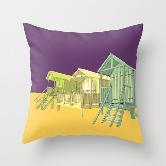 Thoughts of summer // beach huts Throw Pillow