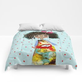 Red Bird Pet Doll Grungy Polka Dots Comforters