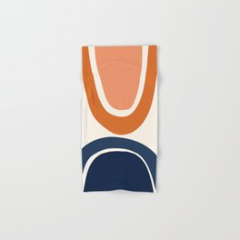 Abstract Shapes 7 in Burnt Orange and Navy Blue Hand & Bath Towel