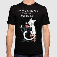 Mornings are the worst LARGE Mens Fitted Tee Black