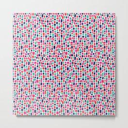 Pink, Indigo, Turquoise and Orange Pattern. Metal Print
