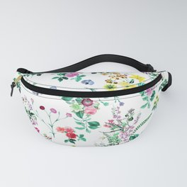 Roses, Moth Orchids, Lilies - Green Pink Blue Fanny Pack