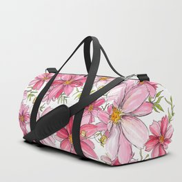 Pink Spring Flower Pattern Duffle Bag