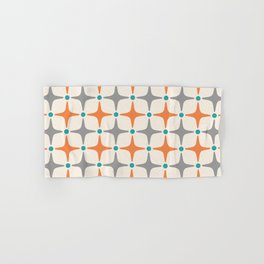 Mid Century Modern Star Pattern Grey and Orange Hand & Bath Towel