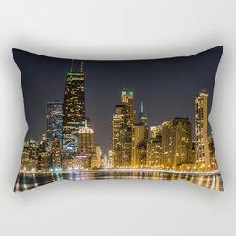 Chicago North Shore Skyline Night Rectangular Pillow