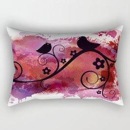 Black birds silhouette on a branch Rectangular Pillow