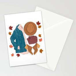 Sweater Weather flat lay drawing // autumn leaves, boots, hat, jean jacket Stationery Cards