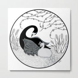 Black Swan and Moonlark Metal Print