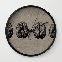 Row o' Brains - Engraving - Vintage - Old Black, White & Brown Wall Clock