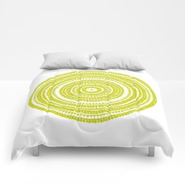 Lime green dot art painting Comforters