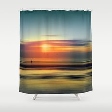 Bright Red - seascape sunset abstract Shower Curtain