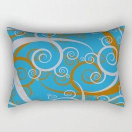 Blue Swirl Pattern Rectangular Pillow