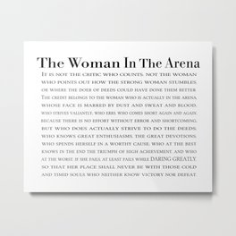 The Woman In The Arena Quote, Daring Greatly Speech Metal Print