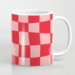 Hand Drawn Checkerboard Pattern (red/pink) Coffee Mug