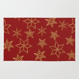 Snowflakes Red And Gold Rug