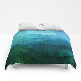 Blue Abstract Landscape Comforters