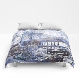 Brooklyn Bridge New York USA Watercolor blue Illustration Comforters