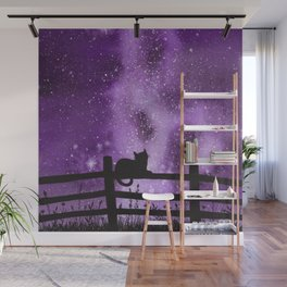 Night full of Sky Purple Watercolor Galaxy Painting Wall Mural