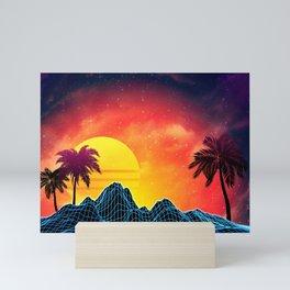 Sunset Vaporwave landscape with rocks and palms Mini Art Print